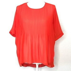 Anthropologie Lost April Pintuck Top Small Orange